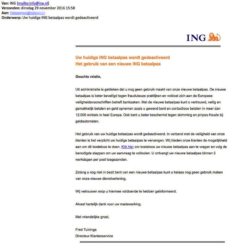 Phishingmail over nieuwe betaalpas 'ING'