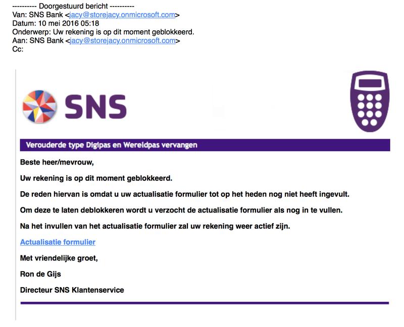 Verschillende valse 'SNS' e-mails in omloop