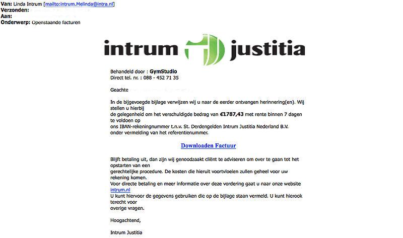 Pas op: Criminelen sturen malwaremail uit naam van 'Intrum Justitia'