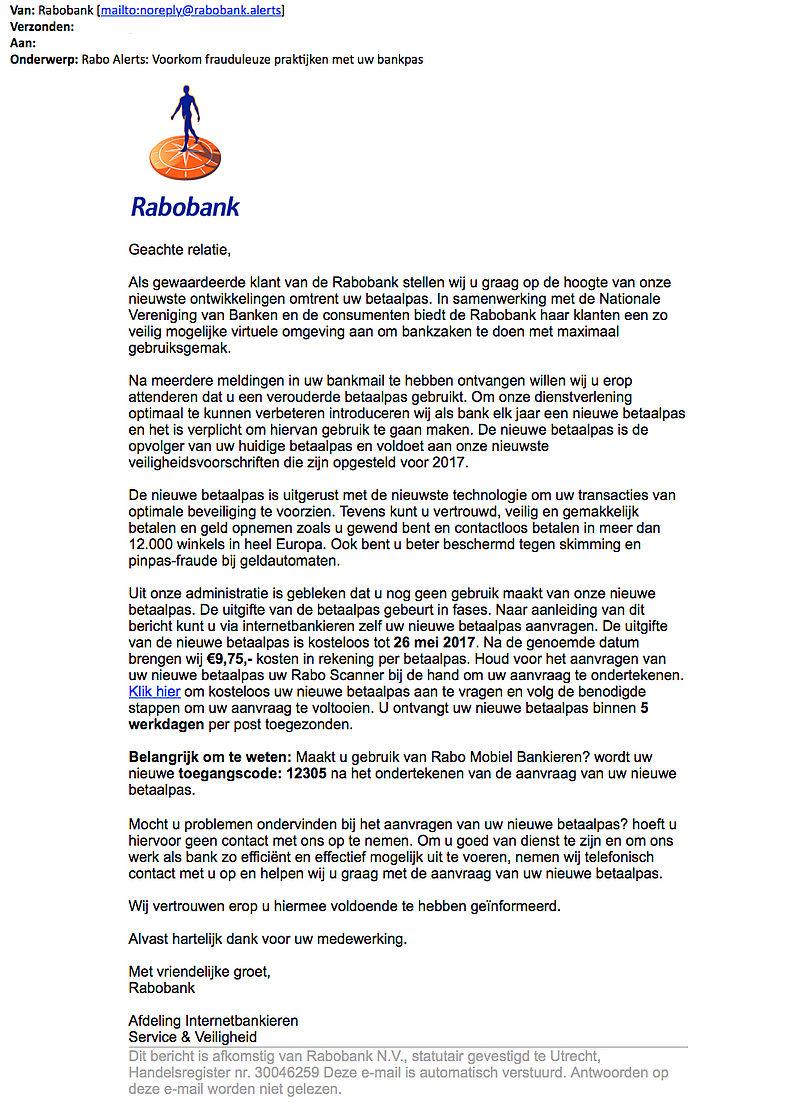 Meerdere phishingmails nieuwe bankpas 'Rabobank'
