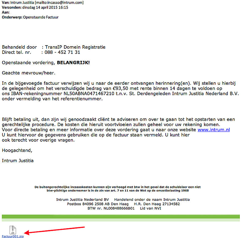 Veel meldingen malware-mails Intrum Justitia