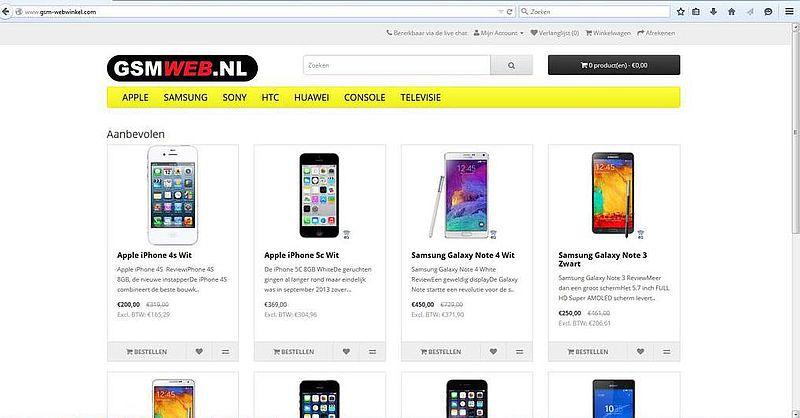 'Pas op voor malafide gsm-webwinkel'
