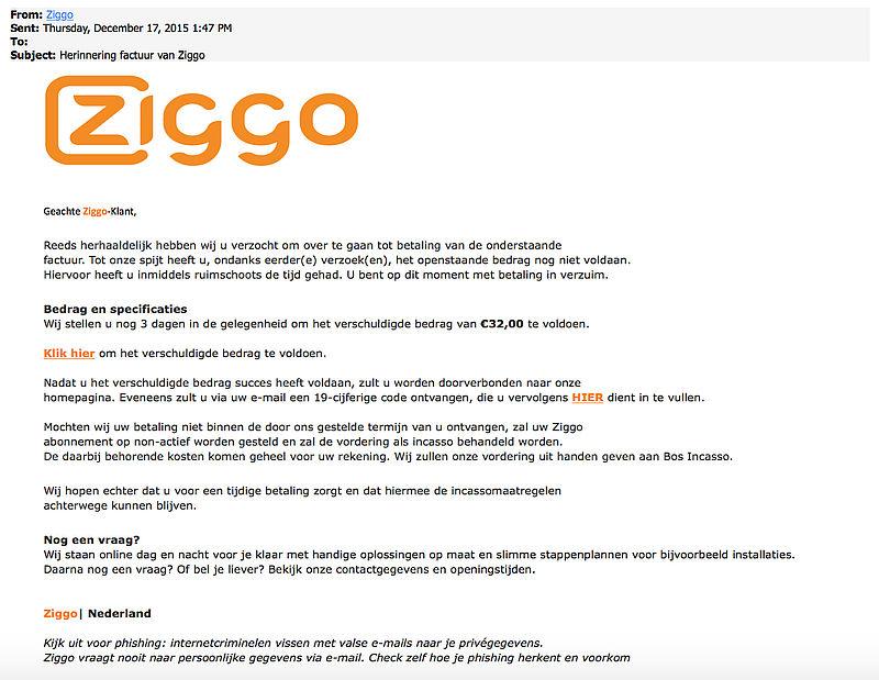 Opnieuw nep-aanmaning 'Ziggo'