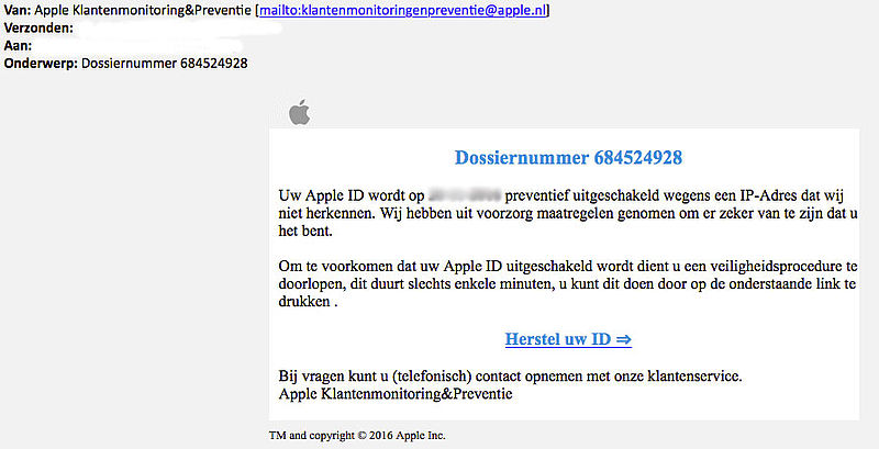 Valse e-mail: 'Apple' vergrendelt account