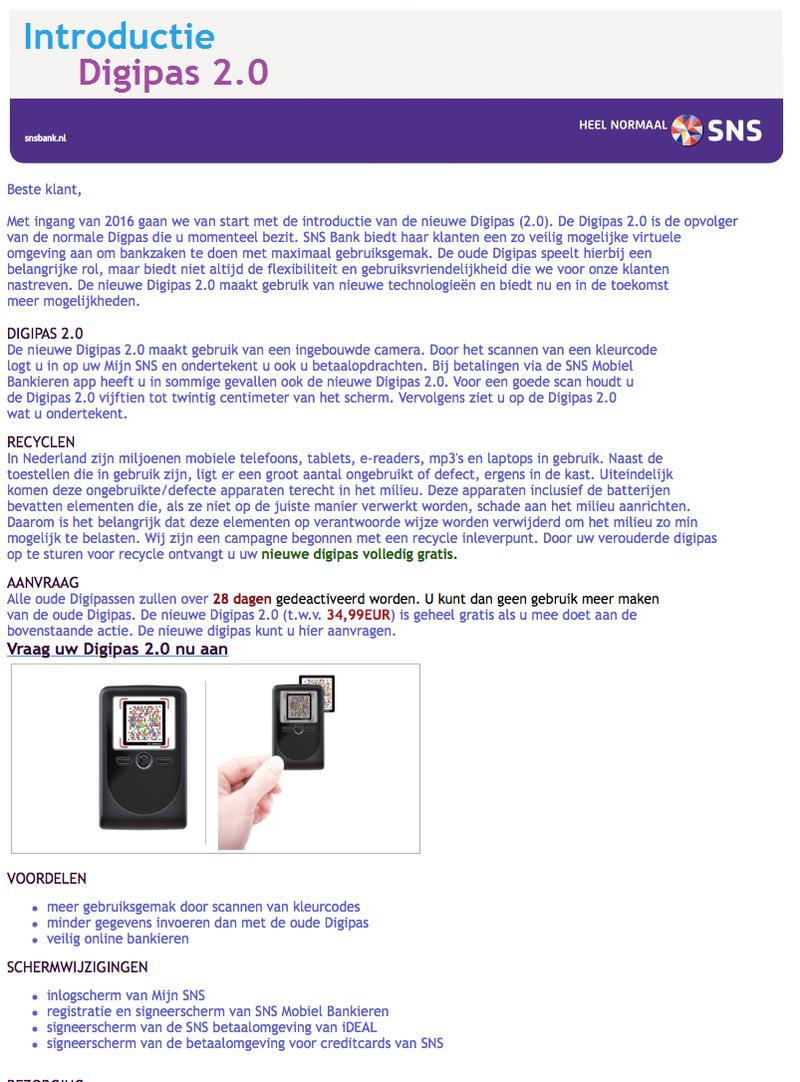 Valse e-mail SNS: 'Digipas 2.0'