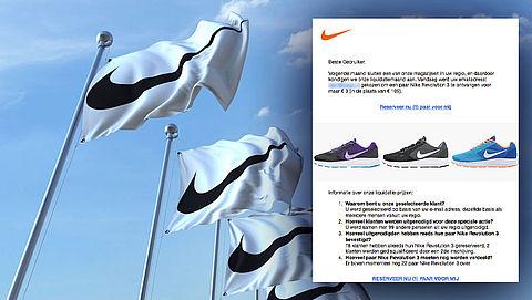 E-mail 'Nike Revolution voor €3,-' leidt naar misleidende website