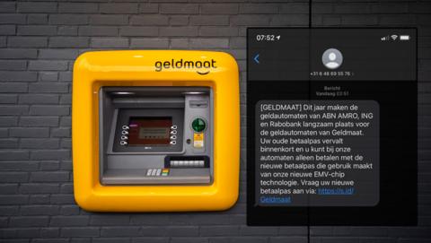 De Geldmaat vervangt bestaande pinautomaten. Klopt de sms dat je er een nieuwe betaalpas voor nodig hebt?