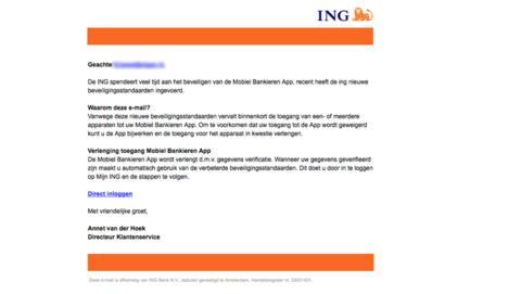 Mail van 'ING' over nieuwe beveiligingsstandaarden kan weg