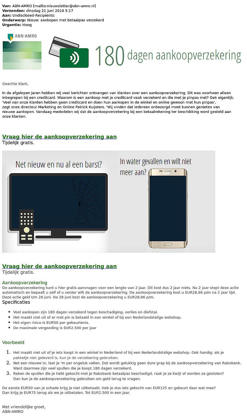 E-mail over aankoopverzekering van de 'Rabobank' en 'ABN AMRO' is vals