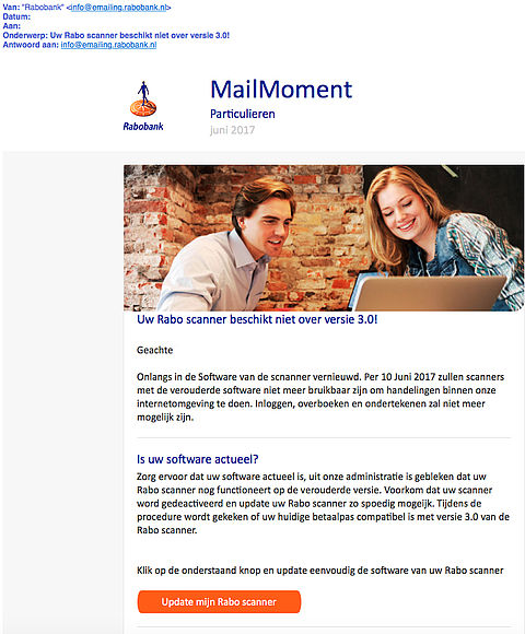 Trap niet in phishingmail Rabobank 'MailMoment'