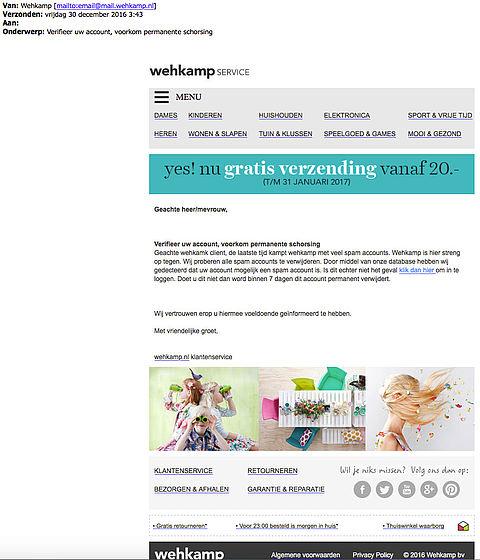 Fraudeurs sturen valse e-mail 'Wehkamp'