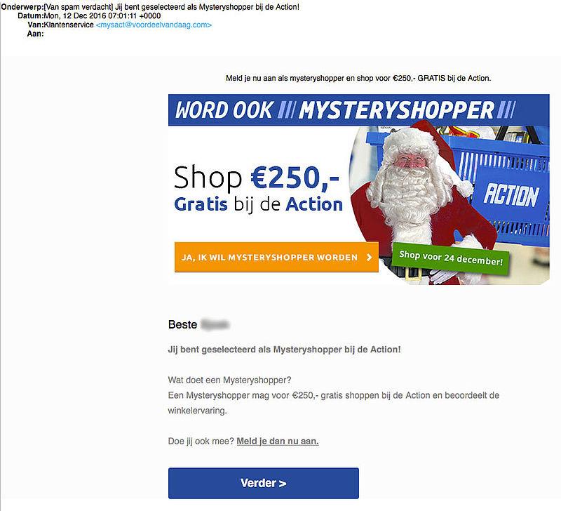Misleidende e-mail over mysteryshoppen bij 'Action'