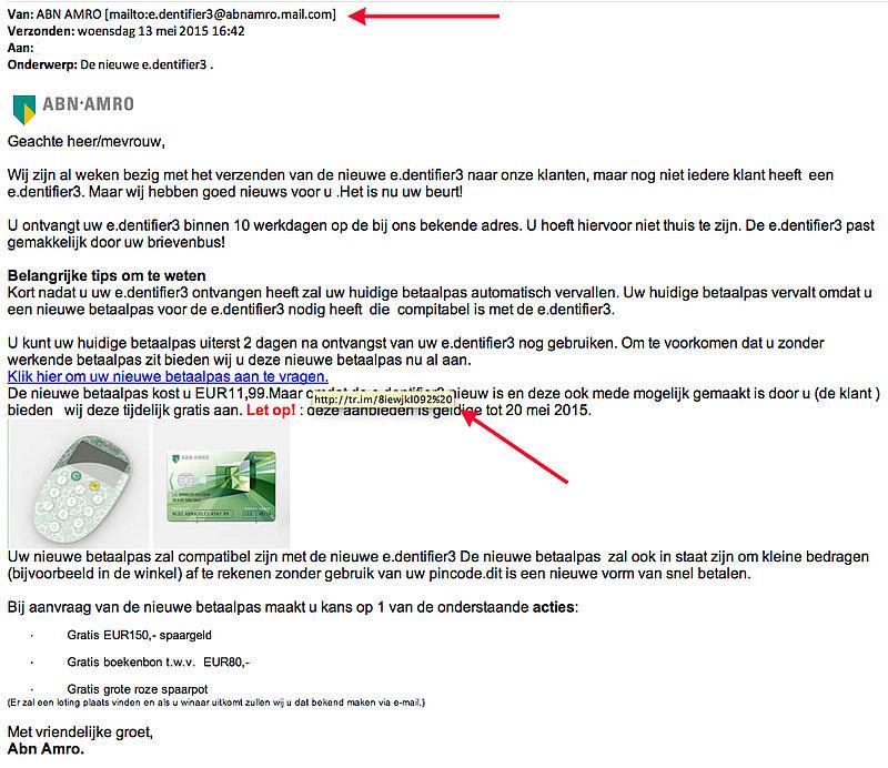 Valse e-mail ABN AMRO: 'De nieuwe e.dentifier3'