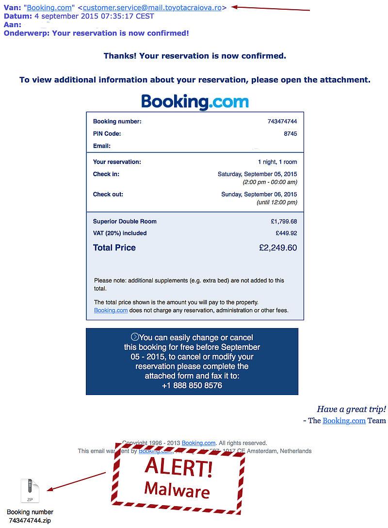 Valse bevestigingen Booking.com in omloop
