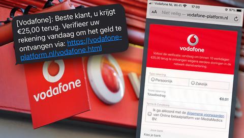 Phishing via sms'jes namens Vodafone: 'U krijgt € 25,00 terug, verifieer uw rekening om het geld te ontvangen'
