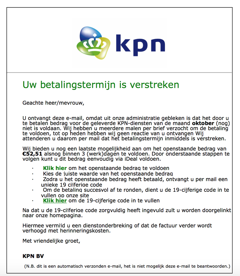 Valse mail 'KPN' over onbetaalde factuur