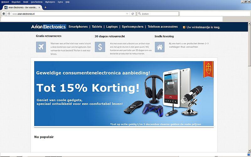 'Doe geen aankopen bij www.arian-electronics.nl'