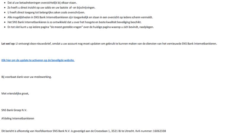 Valse mail van SNS Bank in omloop