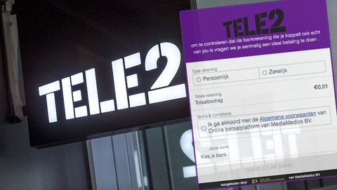 Oplichting uit naam van Tele2: 'Doe een iDEAL-betaling om je bankrekening te bevestigen'