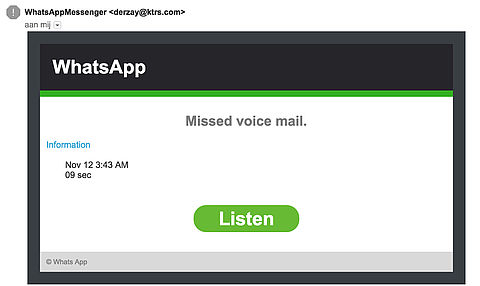 E-mail WhatsApp voicemailbericht is vals
