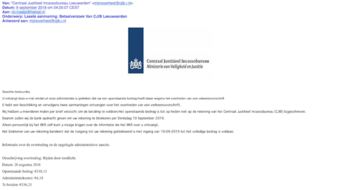 Opnieuw valse mail 'CJIB' in omloop