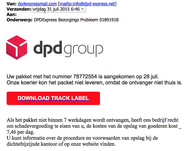 Mail 'DPDExpress' is vals en linkt naar malware