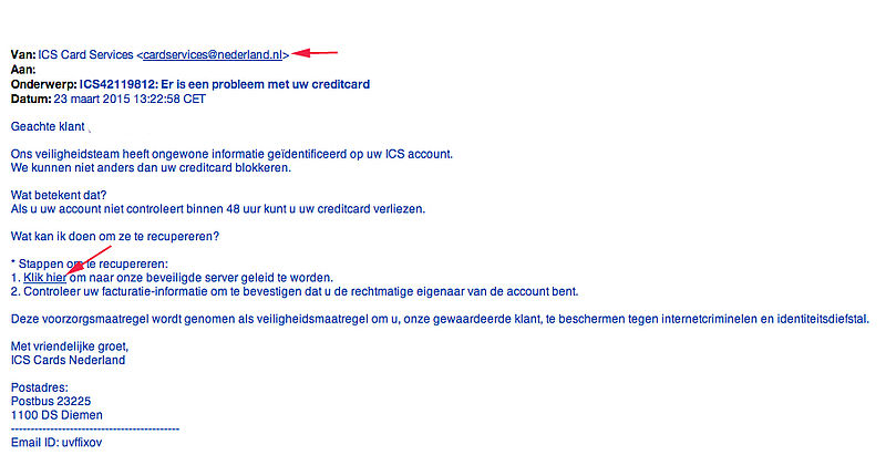 Weer valse e-mail ICS in omloop