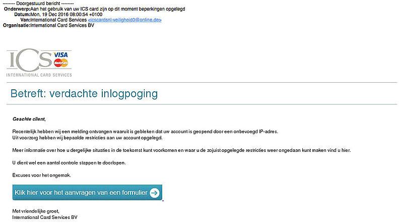 Valse e-mail 'ICS': verdachte inlogpoging