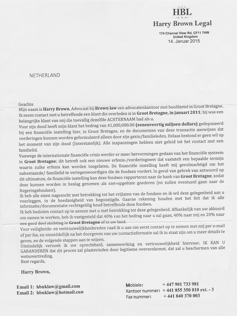 Voorschotfraude-brieven in omloop!