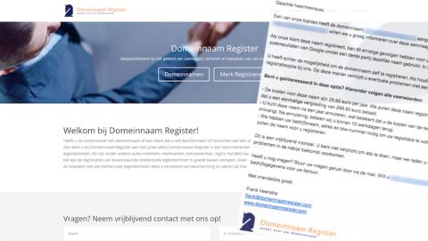 Domeinnaam Register doet misleidende aanbiedingen voor het registreren van domeinnamen