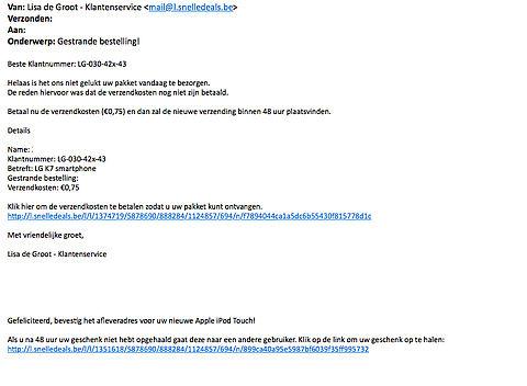 Let op: e-mail 'pakketlevering' wil je met een abonnement opzadelen