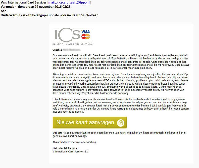 Valse e-mail over nieuwe kaart 'ICS'
