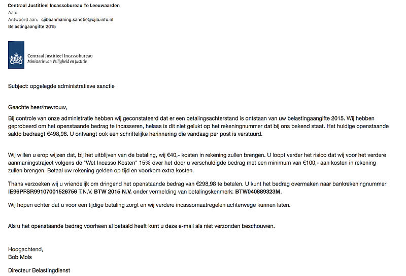 Valse e-mail: 'belastingaangifte 2015'
