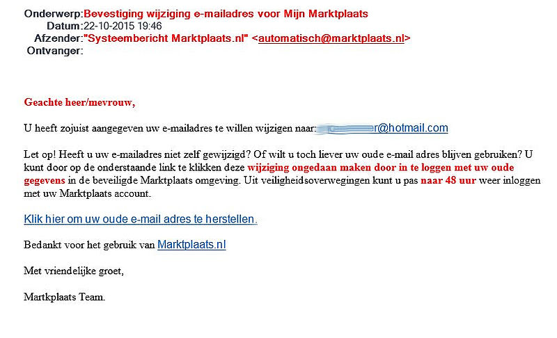 Valse mail 'Marktplaats' over ander e-mailadres