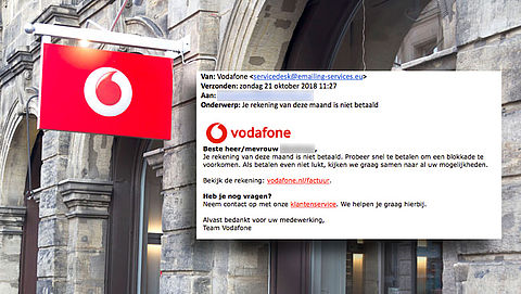 Valse mail 'Vodafone' over niet betaalde rekening is phishing