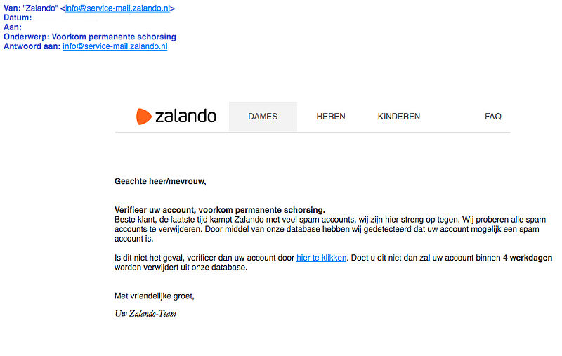 'Zalando' stuurt valse e-mail over accounts