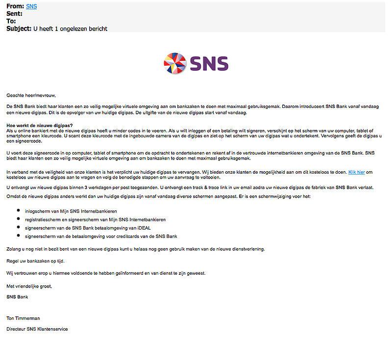 Criminelen sturen phishingmails 'SNS Bank' over pas