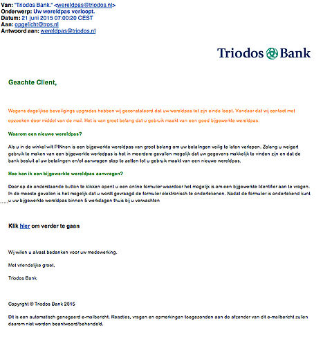 Valse e-mail Triodos: 'uw wereldpas verloopt'