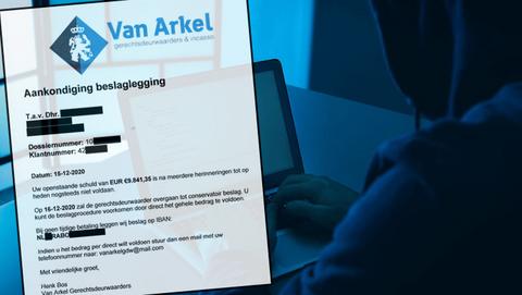 Spookfactuur van 'Van Arkel Gerechtsdeurwaarders' bevat een hoop persoonlijke gegevens
