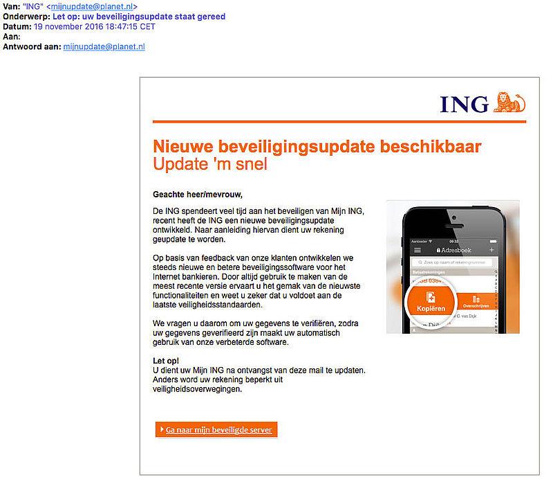 E-mail 'ING' over beveiligingsupdate is vals
