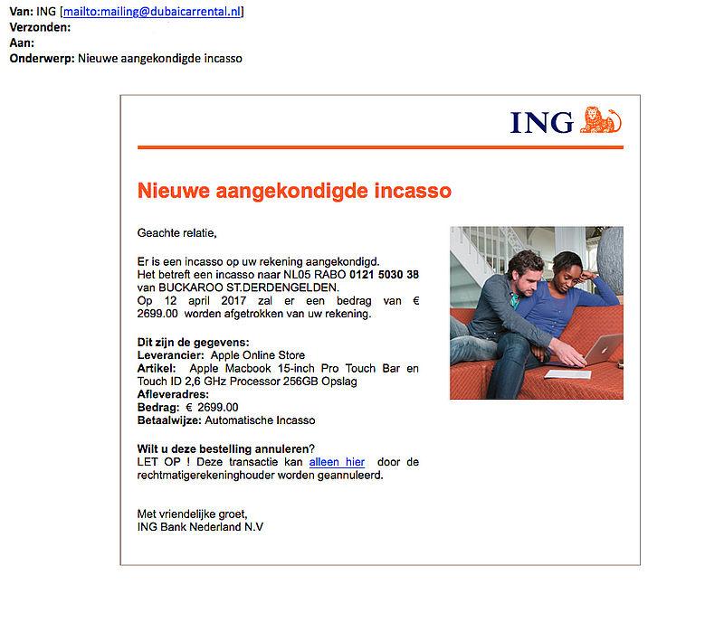 Valse e-mail 'ING' verstuurd over automatische incasso