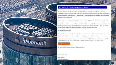 Phishingmail 'Rabobank' over IBAN-Naam Check