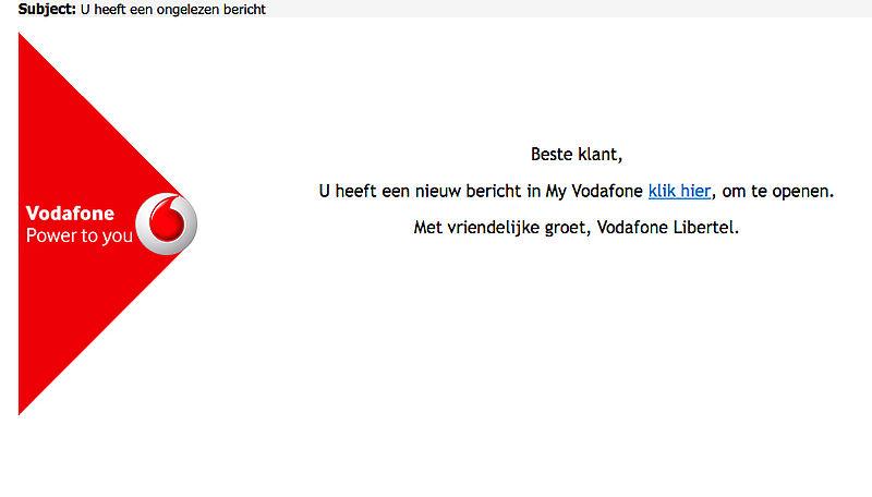 Valse e-mail 'Vodafone': u heeft een nieuw bericht