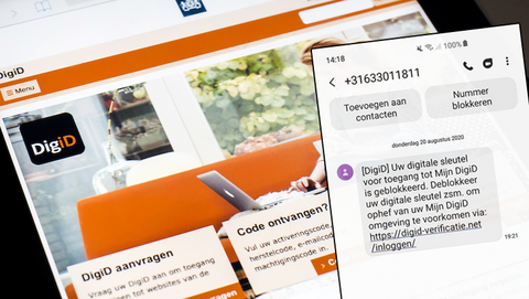 Gevaarlijk sms-bericht van 'DigiD' betreft phishing gericht op klanten van meerdere grote banken