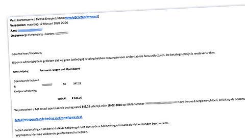 Valse mail over openstaande energierekening bij Innova Energie