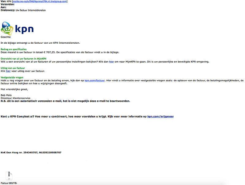 Pas op voor meerdere malwaremails 'KPN'