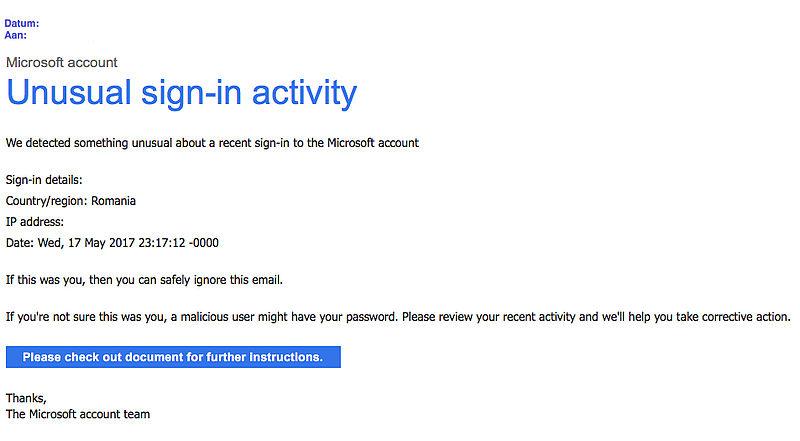Pas op voor valse e-mail 'Microsoft' over inloggen