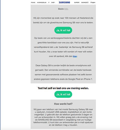 Let op: e-mail 'Samsung testen' is nep
