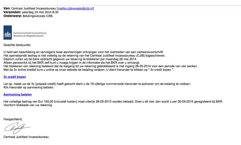 Valse email: 'Betalingsverzoek CJIB'