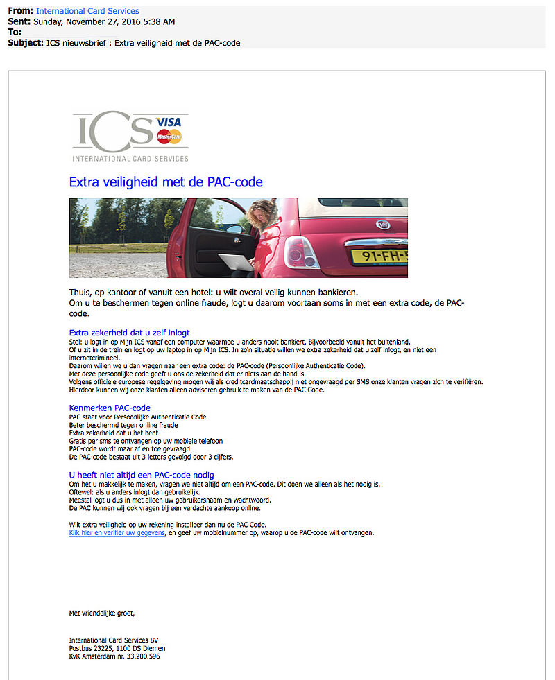 Pas op voor valse nieuwsbrief ICS
